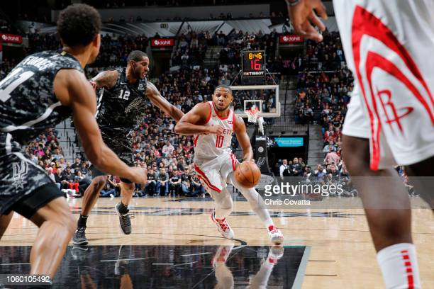 Eric Gordon of the Houston Rockets handles the ball against the San Antonio Spurs on November 10 2018 at the ATT Center in San Antonio Texas NOTE TO...