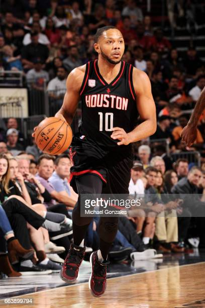Eric Gordon of the Houston Rockets handles the ball during the game against the Phoenix Suns on April 2 2017 at US Airways Center in Phoenix Arizona...