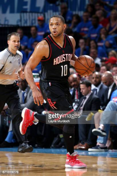 Eric Gordon of the Houston Rockets handles the ball during the game against the Oklahoma City Thunder during the Western Conference Quarterfinals of...