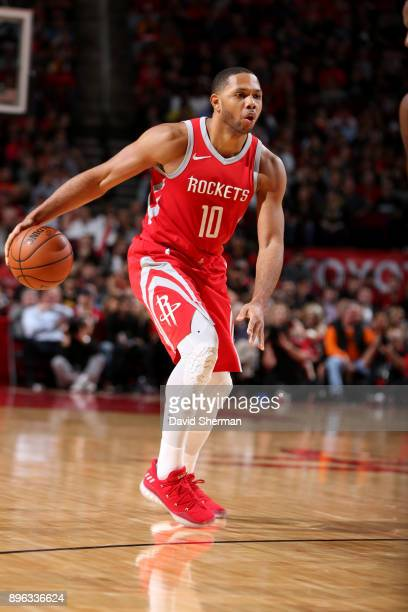 Eric Gordon of the Houston Rockets handles the ball during the game against the Los Angeles Lakers on December 20 2017 at Toyota Center in Houston...