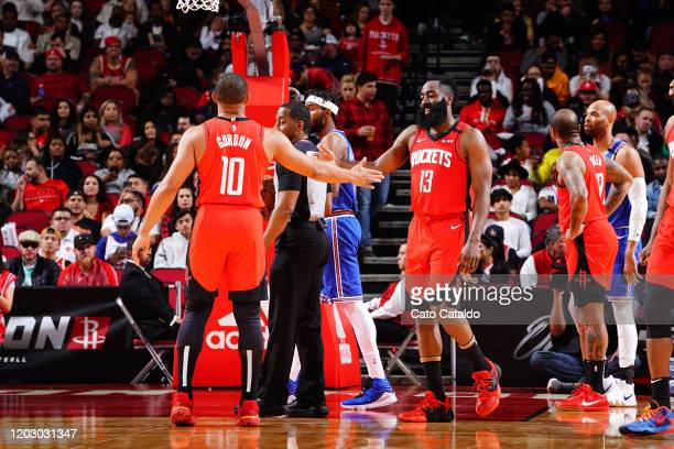 Eric Gordon of the Houston Rockets highfives James Harden of the Houston Rockets against the New York Knicks on February 24 2020 at the Toyota Center...