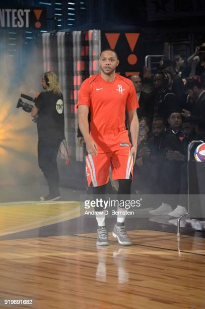 Eric Gordon of the Houston Rockets is introduced prior to the JBL ThreePoint Contest during State Farm AllStar Saturday Night as part of the 2018 NBA...