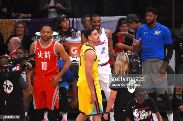 Eric Gordon of the Houston Rockets Klay Thompson of the Golden State Warriors Wayne Ellington of the Miami Heat and Paul George of the Oklahoma City...