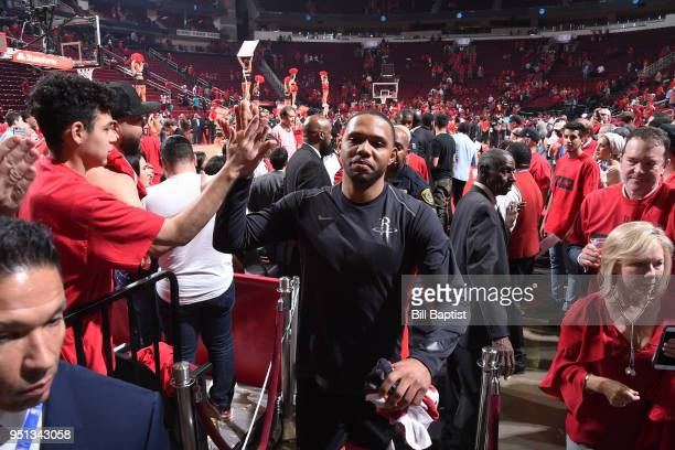 Eric Gordon of the Houston Rockets leaves the arena after Game Five of the Western Conference Quarterfinals against the Minnesota Timberwolves during...