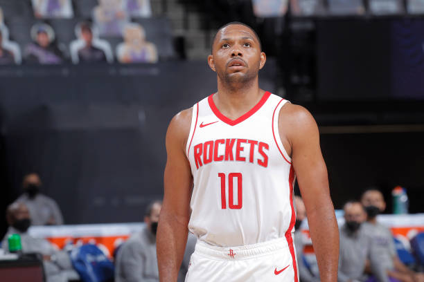 Eric Gordon of the Houston Rockets looks on during the game against the Sacramento Kings on March 11, 2021 at Golden 1 Center in Sacramento,...