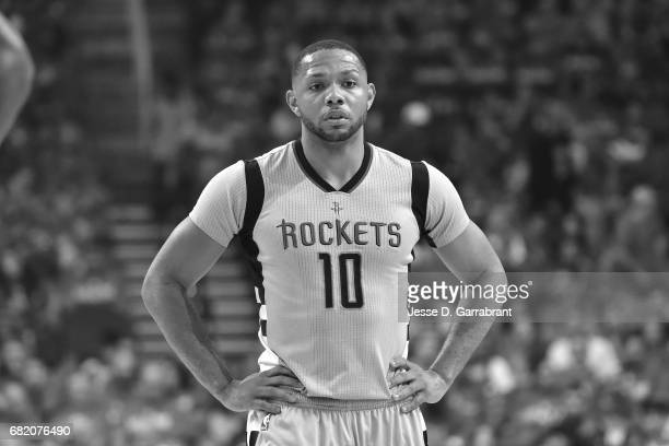 Eric Gordon of the Houston Rockets looks on during the game against the San Antonio Spurs during Game Six of the Western Conference Semifinals of the...