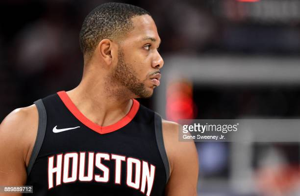 Eric Gordon of the Houston Rockets looks on during their game against the Utah Jazz at Vivint Smart Home Arena on December 7 2017 in Salt Lake City...