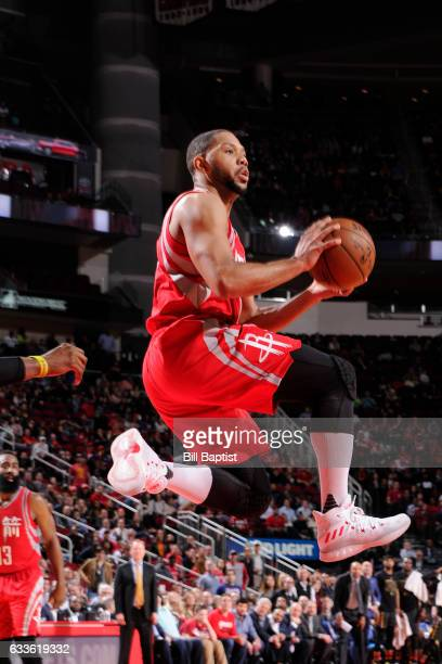 Eric Gordon of the Houston Rockets looks to pass against the Atlanta Hawks on February 2 2017 at the Toyota Center in Houston Texas NOTE TO USER User...