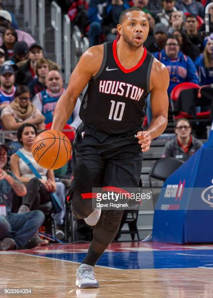Eric Gordon of the Houston Rockets moves the ball up court against the Detroit Pistons during the an NBA game at Little Caesars Arena on January 6...
