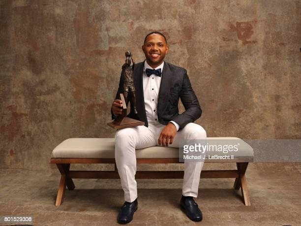 Eric Gordon of the Houston Rockets poses for a portrait after receiving the Kia NBA Sixth Man Award at the NBA Awards Show on June 26 2017 at...