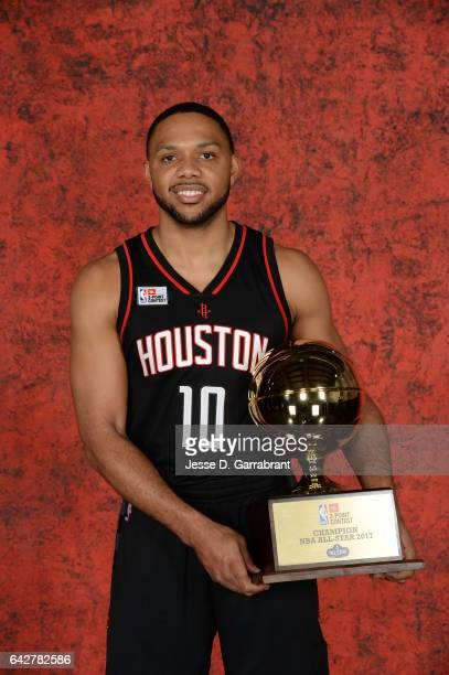 Eric Gordon of the Houston Rockets poses for a portrait following the JBL ThreePoint Contest as part of 2017 AllStar Weekend at the Smoothie King...