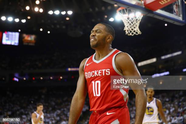 Eric Gordon of the Houston Rockets reacts against the Golden State Warriors at ORACLE Arena on October 17 2017 in Oakland California NOTE TO USER...