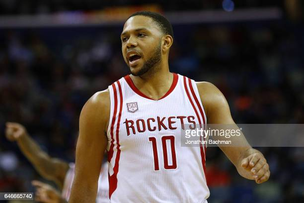 Eric Gordon of the Houston Rockets reacts during a game against the New Orleans Pelicans at the Smoothie King Center on February 23 2017 in New...