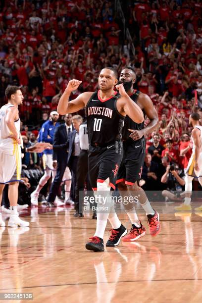 Eric Gordon of the Houston Rockets reacts to a play in Game Five of the Western Conference Finals against the Golden State Warriors during the 2018...
