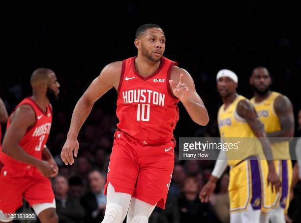 Eric Gordon of the Houston Rockets reacts to his three pointer during a 111106 loss to the Los Angeles Lakers at Staples Center on February 21 2019...