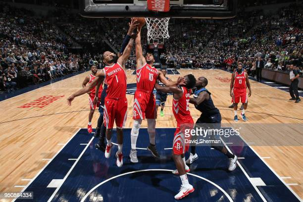 Eric Gordon of the Houston Rockets rebounds the ball against the Minnesota Timberwolves in Game Four of Round One of the 2018 NBA Playoffs on April...