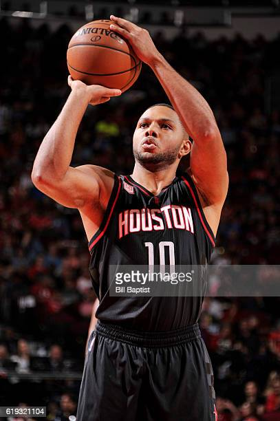Eric Gordon of the Houston Rockets shoots a free throw during a game against the Dallas Mavericks on October 30 2016 at the Toyota Center in Houston...