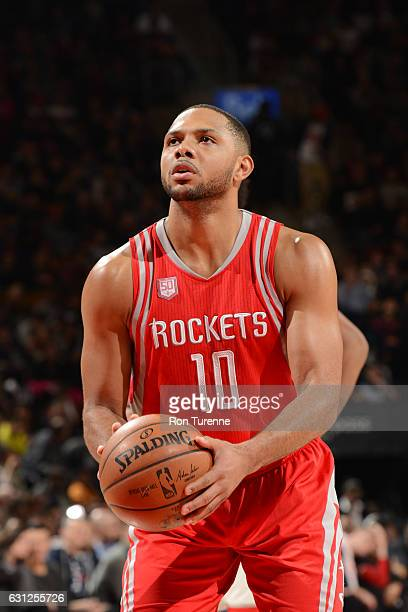 Eric Gordon of the Houston Rockets shoots a free throw during a game against the Toronto Raptors on January 8 2017 at the Air Canada Centre in...