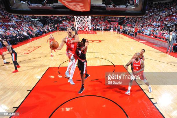 Eric Gordon of the Houston Rockets shoots a lay up against the Portland Trail Blazers on January 10 2018 at the Toyota Center in Houston Texas NOTE...