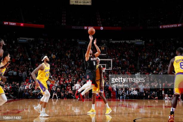 Eric Gordon of the Houston Rockets shoots a three pointer to send the game into overtime against the Los Angeles Lakers on January 19 2019 at the...