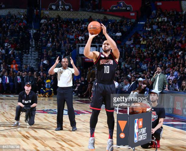 Eric Gordon of the Houston Rockets shoots during the JBL ThreePoint Contest during State Farm AllStar Saturday Night as part of the 2017 NBA AllStar...