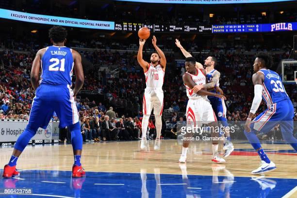 Eric Gordon of the Houston Rockets shoots the ball against the Philadelphia 76ers October 25 2017 at Wells Fargo Center in Philadelphia Pennsylvania...