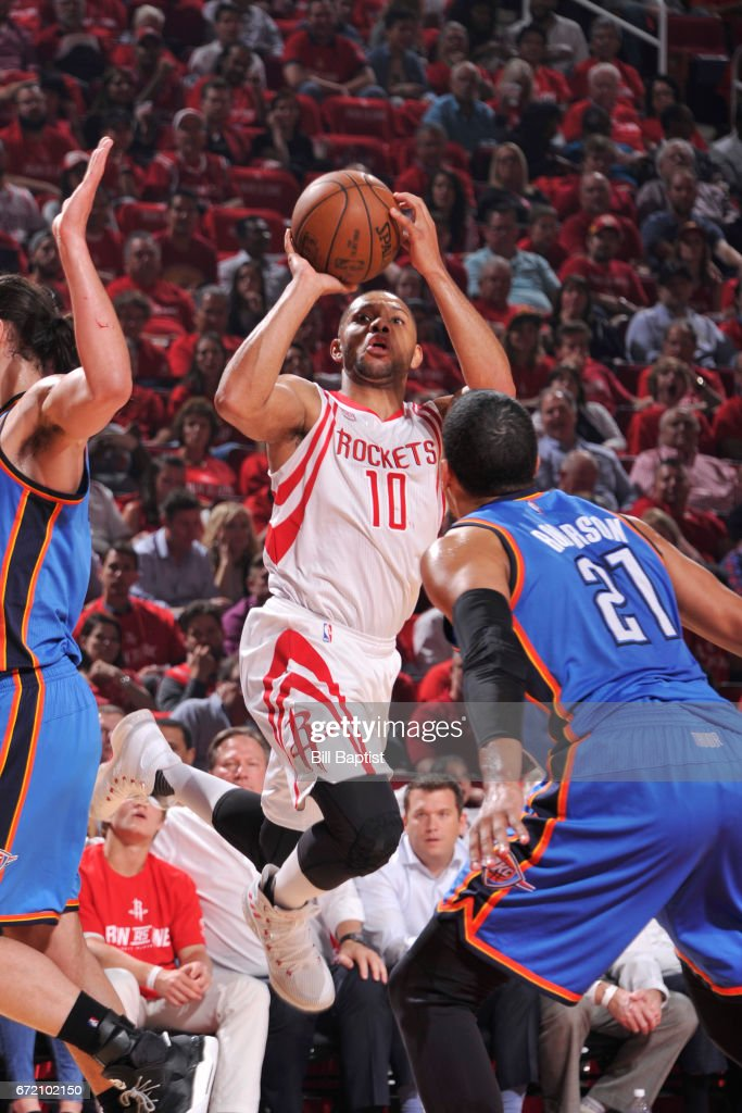 Eric Gordon #10 of the Houston Rockets shoots the ball against the Oklahoma City Thunder during Game Two of the Eastern Conference Quarterfinals of the 2017 NBA Playoffs on April 19, 2017 at the Toyota Center in Houston, Texas.