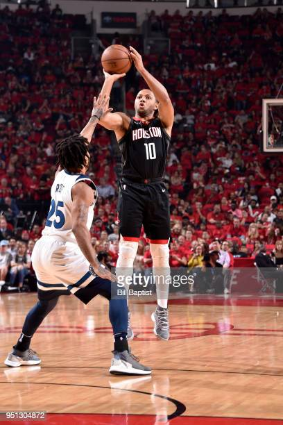 Eric Gordon of the Houston Rockets shoots the ball against the Minnesota Timberwolves in Game Five of the Western Conference Quarterfinals during the...