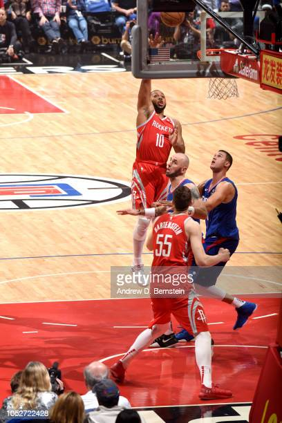 Eric Gordon of the Houston Rockets shoots the ball against the LA Clippers on October 21 2018 at Staples Center in Los Angeles California NOTE TO...