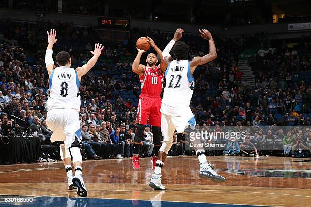 Eric Gordon of the Houston Rockets shoots the ball against the Minnesota Timberwolves on December 17 2016 at Target Center in Minneapolis Minnesota...
