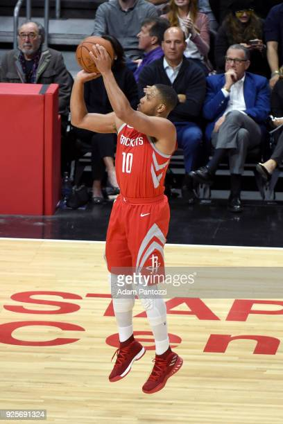 Eric Gordon of the Houston Rockets shoots the ball against the LA Clippers on February 28 2018 at STAPLES Center in Los Angeles California NOTE TO...