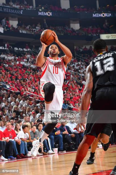 Eric Gordon of the Houston Rockets shoots the ball against the San Antonio Spurs in Game Three of the Western Conference Semifinals of the 2017 NBA...
