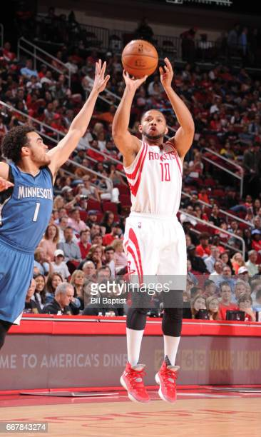 Eric Gordon of the Houston Rockets shoots the ball against the Minnesota Timberwolves during the game on April 12 2017 at the Toyota Center in...