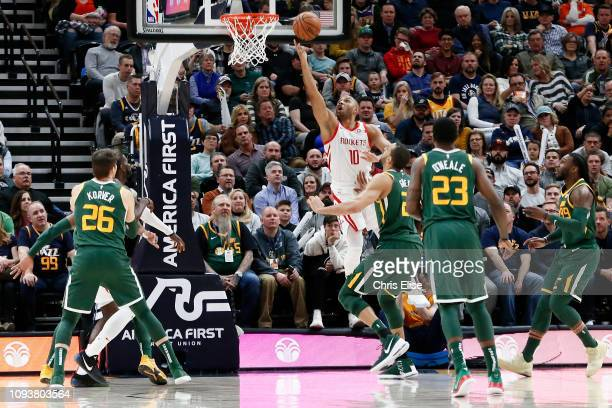 Eric Gordon of the Houston Rockets shoots the ball against the Utah Jazz on February 2 2019 at Vivint Smart Home Arena in Salt Lake City Utah NOTE TO...