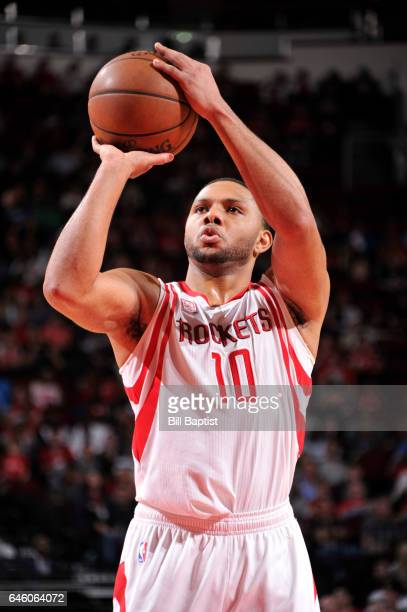 Eric Gordon of the Houston Rockets shoots the ball during a game against the Indiana Pacers on February 27 2017 at the Toyota Center in Houston Texas...