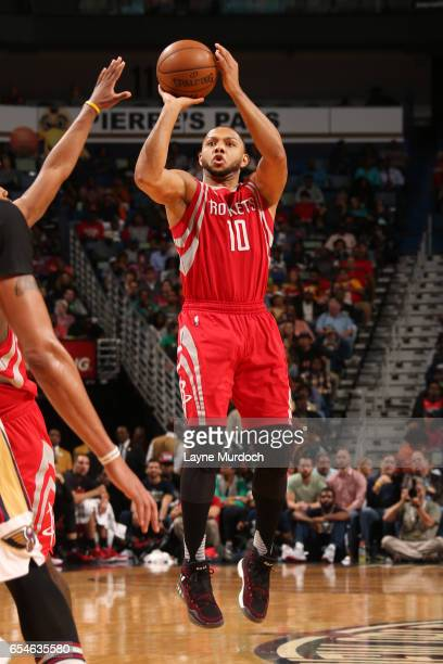 Eric Gordon of the Houston Rockets shoots the ball during a game against the New Orleans Pelicans on March 17 2017 at Smoothie King Center in New...