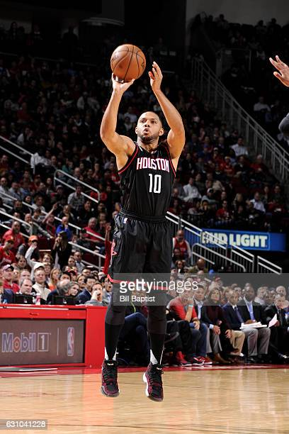 Eric Gordon of the Houston Rockets shoots the ball during the game against the Oklahoma City Thunder on January 5 2017 at the Toyota Center in...