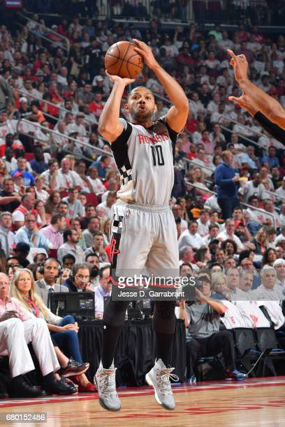 Eric Gordon of the Houston Rockets shoots the ball during the game against the San Antonio Spurs during Game Four of the Western Conference...