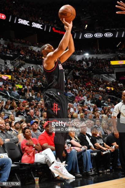 Eric Gordon of the Houston Rockets shoots the ball during the game against the San Antonio Spurs during Game Five of the Western Conference...