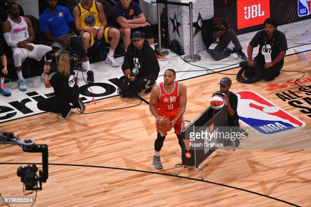 Eric Gordon of the Houston Rockets shoots the ball during the JBL ThreePoint Contest during State Farm AllStar Saturday Night as part of the 2018 NBA...