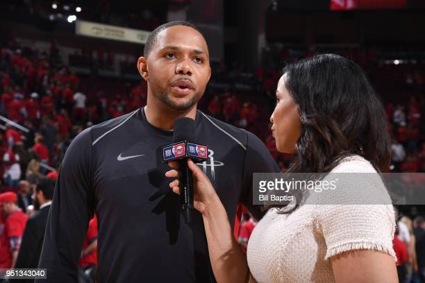 Eric Gordon of the Houston Rockets speaks to the media after Game Five of the Western Conference Quarterfinals against the Minnesota Timberwolves...