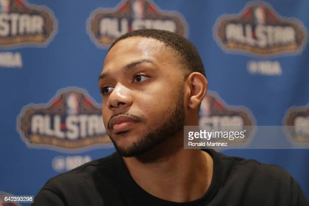 Eric Gordon of the Houston Rockets speaks with the media during media availability for the 2017 NBA AllStar Game at The RitzCarlton New Orleans on...