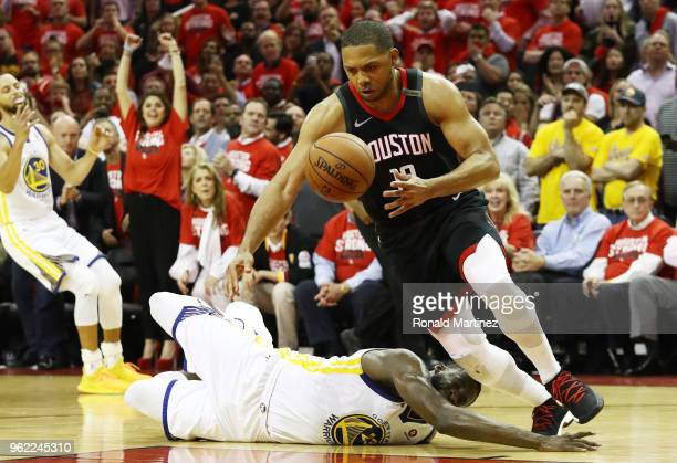 Eric Gordon of the Houston Rockets steals from Draymond Green of the Golden State Warriors late in the fourth quater of Game Five of the Western...