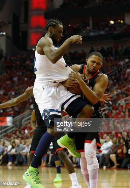Eric Gordon of the Houston Rockets steals the ball from Andrew Wiggins of the Minnesota Timberwolves in the second half during Game Five of the first...