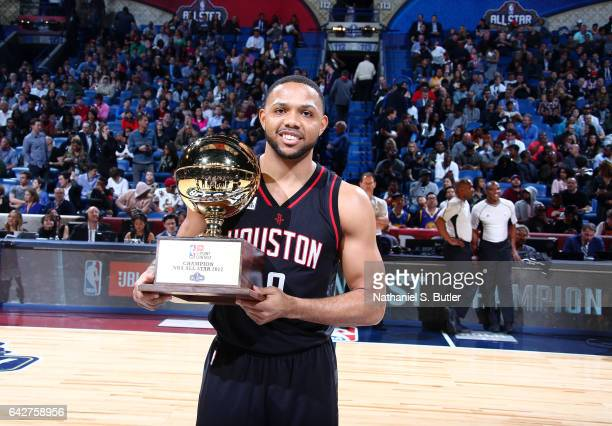 Eric Gordon of the Houston Rockets wins during the JBL ThreePoint Contest during State Farm AllStar Saturday Night as part of the 2017 NBA AllStar...