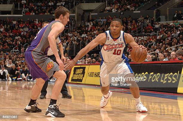 Eric Gordon of the Los Angeles Clippers drives against Goran Dragic of the Phoenix Suns at Staples Center on February 18 2009 in Los Angeles...