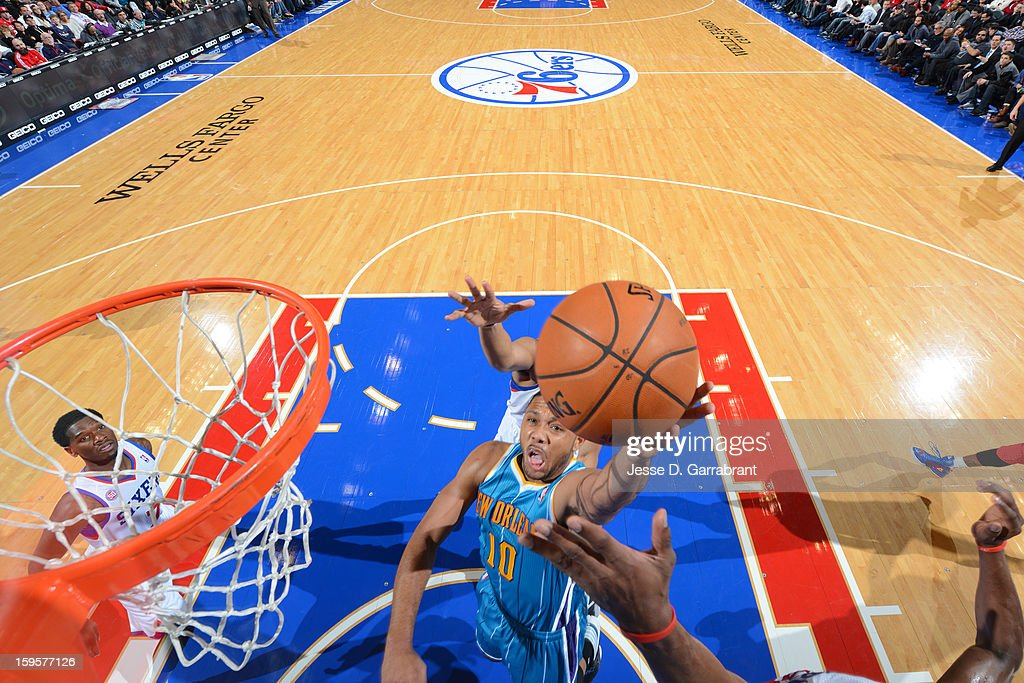 Eric Gordon #10 of the New Orleans Hornets grabs a rebound against the Philadelphia 76ers at the Wells Fargo Center on January 15, 2013 in Philadelphia, Pennsylvania.