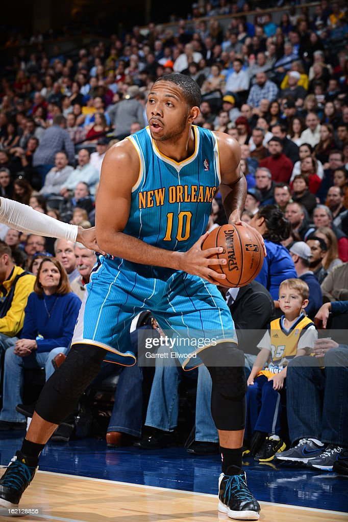 Eric Gordon #10 of the New Orleans Hornets handles the ball against the Denver Nuggets on February 1, 2013 at the Pepsi Center in Denver, Colorado.