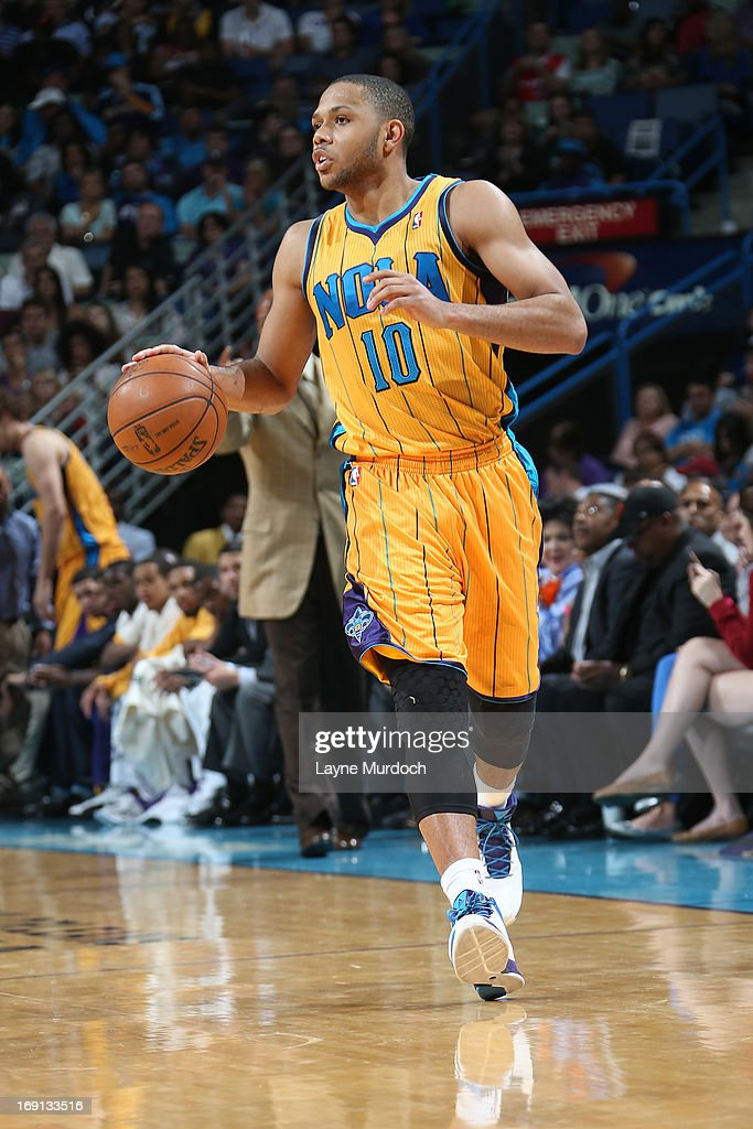 Eric Gordon #10 of the New Orleans Hornets moves the ball up-court against the Los Angeles Clippers on April 12, 2013 at the New Orleans Arena in New Orleans, Louisiana.