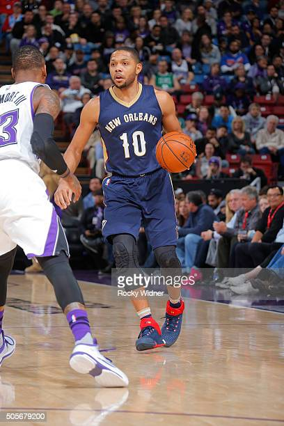 Eric Gordon of the New Orleans Pelicans brings the ball up the court against the Sacramento Kings on January 13 2016 at Sleep Train Arena in...